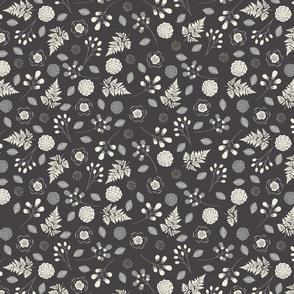 Bohemian Princess - Floral - Gray & Ivory