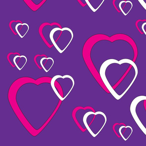 Pink and White Hearts Purple Background
