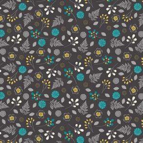 Bohemian Princess - Floral - Gray, Teal, & Yellow