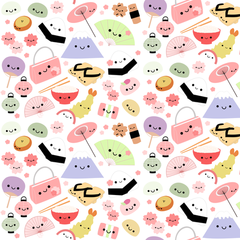 Happy Japan Friends! fabric by clayvision on Spoonflower - custom fabric