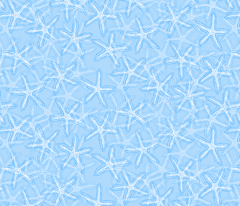 Starfish in Light Bright Blue fabric by lauriekentdesigns on Spoonflower - custom fabric