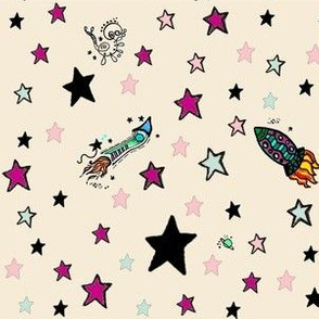 Stars and Rockets on Cream, Pink, Black Seafoam Green Cosmic Space