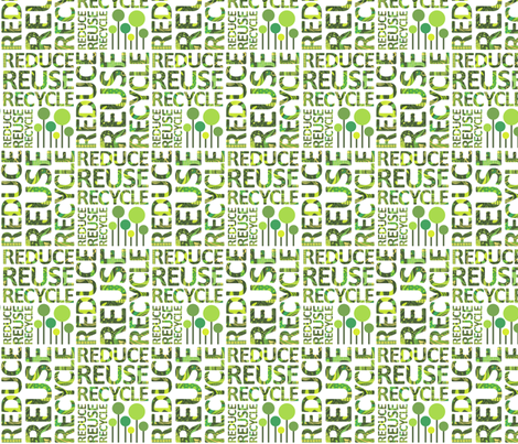 Reduce Reuse Recycle fabric by dunnspun on Spoonflower - custom fabric