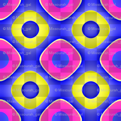 Shimmering Pink and Yellow Rings on Blue