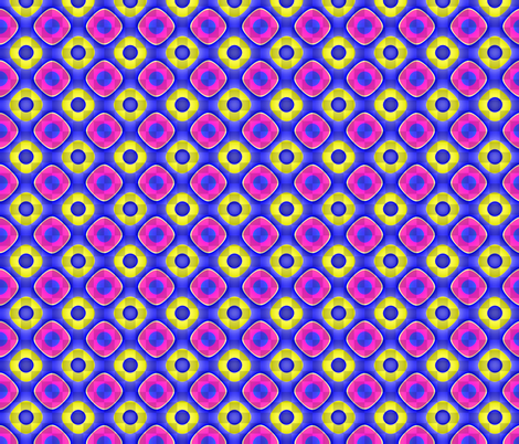 Shimmering Pink and Yellow Rings on Blue fabric by missourah_gal on Spoonflower - custom fabric