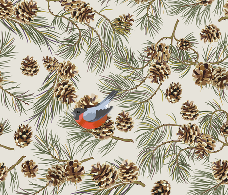 Pine Tree Bullfinch on Beige fabric by spicetree on Spoonflower - custom fabric