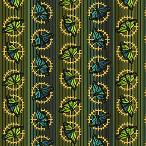 Steampunk Barcode Stripe butterfly motif #2