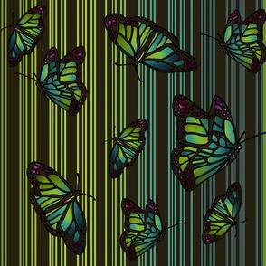 Steampunk Barcode Stripe Art Nouveau Butterflies