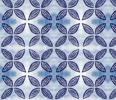 Four Points Blue Flower-ed-ed fabric by nancy'sdesigns on Spoonflower - custom fabric