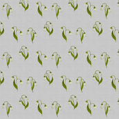 Lily in Green on Silver Linen, Smaller
