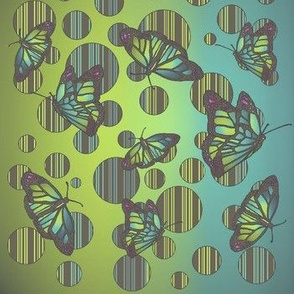 Polka Dot Art Nouveau Butterflies - muted