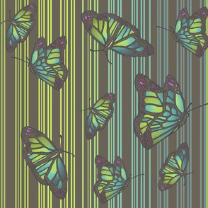 Steampunk Barcode Stripe Art Nouveau Butterflies - Muted