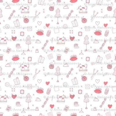 Sewing tools pattern-white-and-red