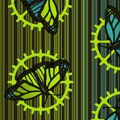 Steampunk Barcode Stripe butterfly motif #4
