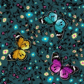 3 butterflies & flowers