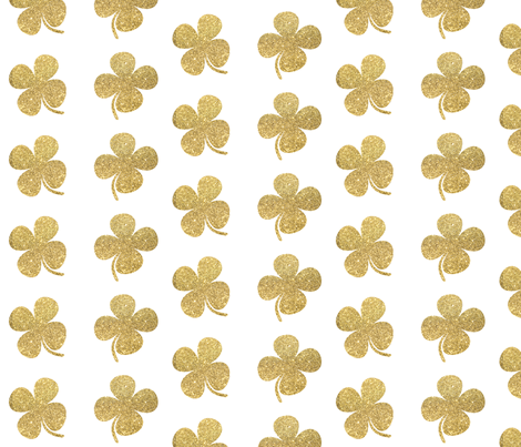 Four Leaf Clover Gold Glitter fabric by jenlats on Spoonflower - custom fabric