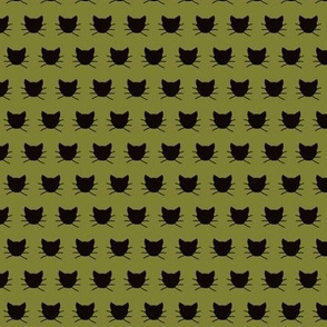 Tiny Black cat on olive green