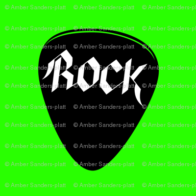 Rock Guitar Pick with Green Background