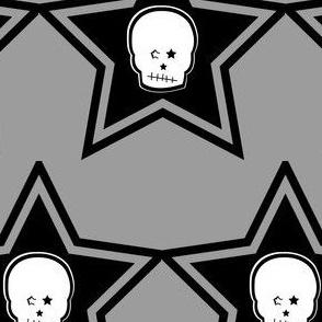 Punk White Skull in Black Stars
