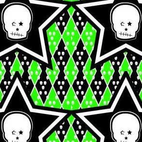 Skull with Punk Stars in Green Black