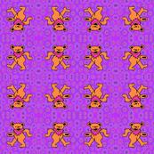 4x4 Purple Tie Dye with Orange Pink Dancing Grateful DeadBear