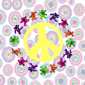 4x4 mirror white tie dye background with Peace Sign Yellow Multiple Grateful Dancing Bears 1