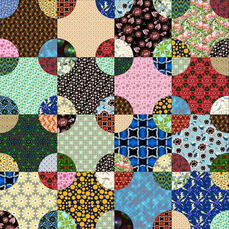 Scrappy steeplechase quilt block, Half Drop fabric by eclectic_house on Spoonflower - custom fabric