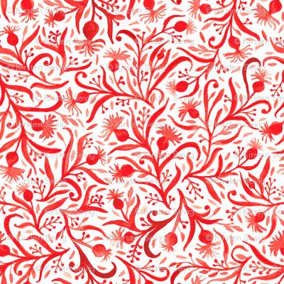 Red Orange Floral Berry