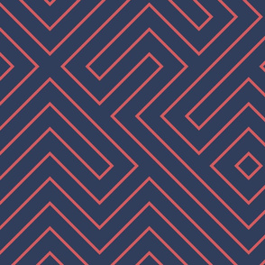 Tribal Maze Coral on Navy
