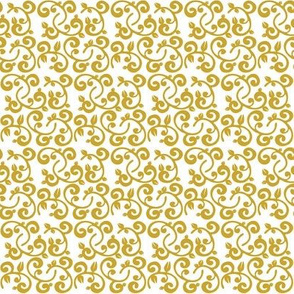 Khaki Gold Floral Vines