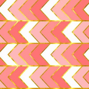 Gilded Ombre Herringbone in Coral  (railroaded)