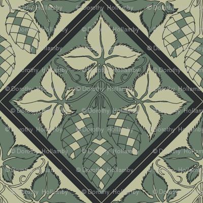 Alternating pale and dark green hop tiles