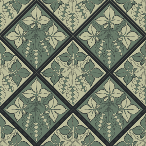 Alternating pale and dark green hop tiles fabric by a_bushel_of_hops on Spoonflower - custom fabric