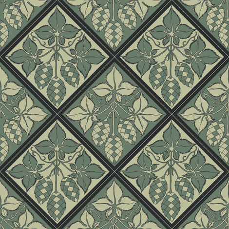 Alternating green hop diamonds fabric by a_bushel_of_hops on Spoonflower - custom fabric