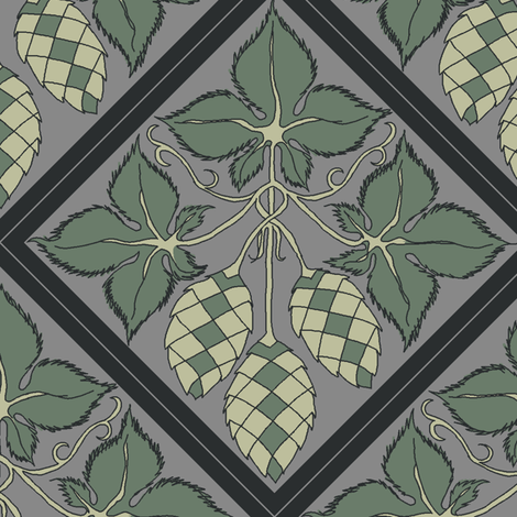 Diamond repeat of green hops on a grey BG fabric by a_bushel_of_hops on Spoonflower - custom fabric