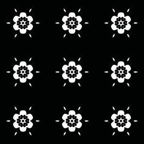 White Geometric Flowers on Black