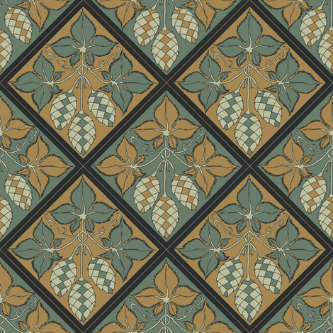 alternating dark green and mustard hop diamonds fabric by a_bushel_of_hops on Spoonflower - custom fabric