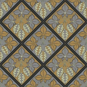 Hop diamonds with alternating grey and mustard backgrounds