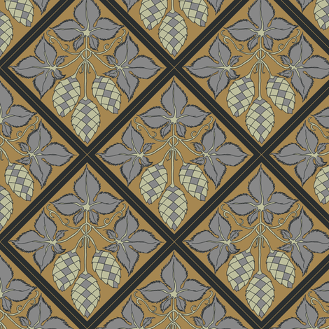 grey leaved hop diamonds on  a mustard BG fabric by a_bushel_of_hops on Spoonflower - custom fabric