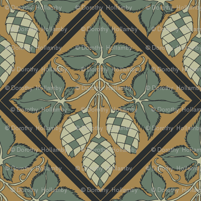 dark green leaves with pale green hop diamonds on a mustard BG