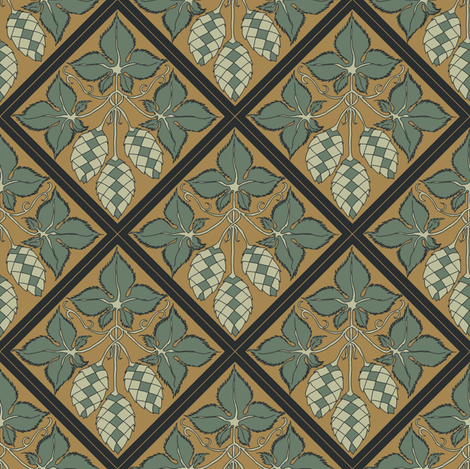 dark green leaves with pale green hop diamonds on a mustard BG fabric by a_bushel_of_hops on Spoonflower - custom fabric