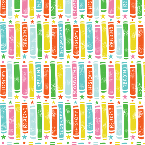 Hit The Books - Back To School White  fabric by heatherdutton on Spoonflower - custom fabric