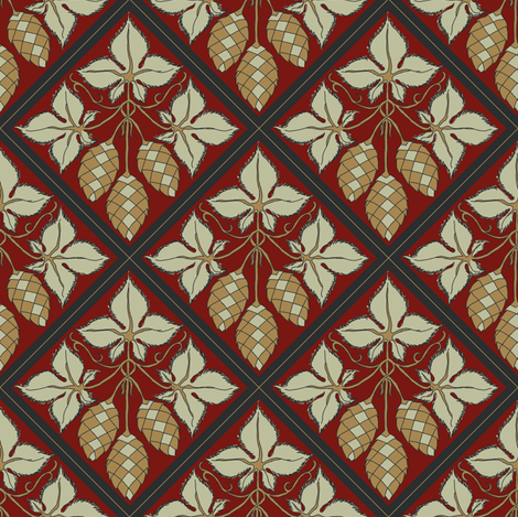 pale green and mustard hop dimaonds on a red BG fabric by a_bushel_of_hops on Spoonflower - custom fabric