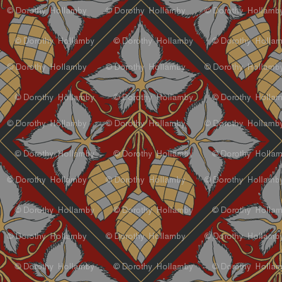 mustard and grey hop diamonds on a red BG