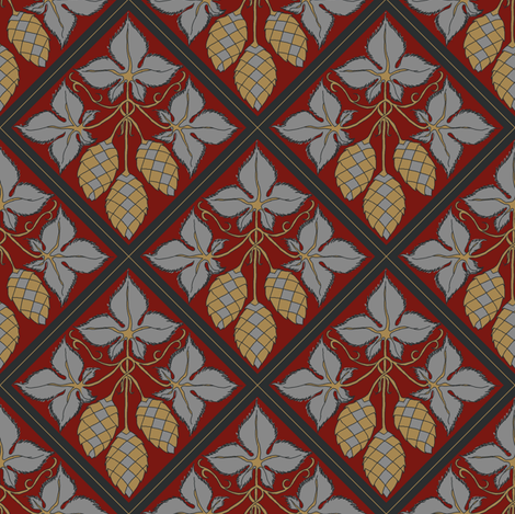 mustard and grey hop diamonds on a red BG fabric by a_bushel_of_hops on Spoonflower - custom fabric