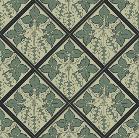 dark green hop leaves and hop diamonds on a pale green BG fabric by a_bushel_of_hops on Spoonflower - custom fabric