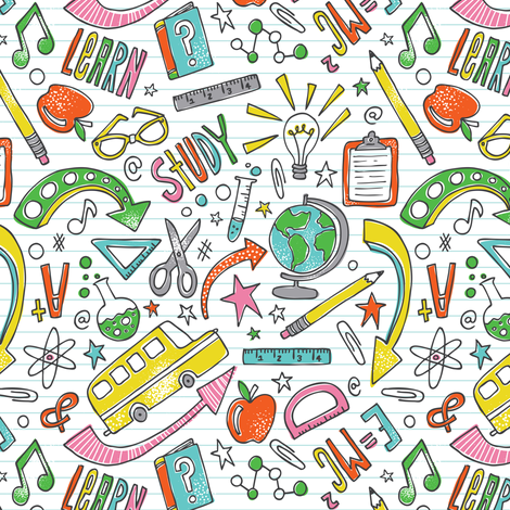 School Is Cool - Back To School White  fabric by heatherdutton on Spoonflower - custom fabric