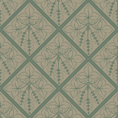 Formal dark green hops on an old linen BG fabric by a_bushel_of_hops on Spoonflower - custom fabric