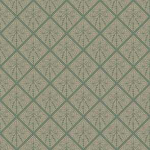 Formal dark green hops on an old linen BG
