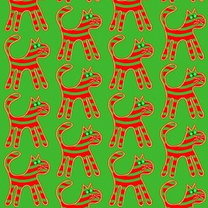 Striped Christmas Cats Red Green